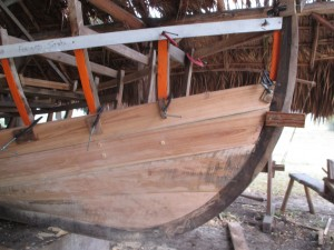 Fore/Starboard planking showing, from the bottom: Keel, Garbard plank and three caraval planks